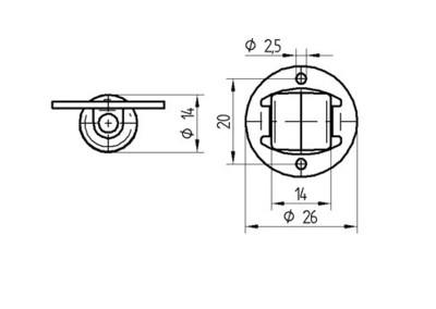 Roata pivotanta din poliamida 14×13.5mm - Schita 1
