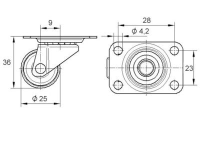 Roata pivotanta din polipropilena 25x36mm - Schita 1