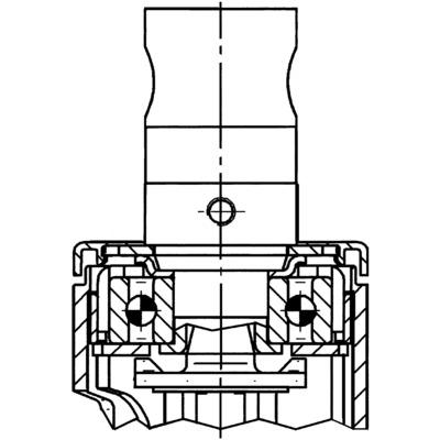 Roata pivotanta cu janta din polipropilena 100x15mm - Schita 1