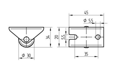 Roata fixa din poliamida 30x15mm - Schita 1