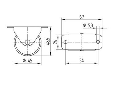 Roata fixa din poliamida 45x18mm - Schita 1