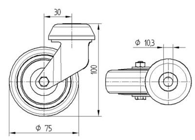 Roata pivotanta din polipropilena 75x25mm - Schita 1