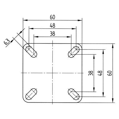 Roata pivotanta cu janta din tabla din otel 50x69mm - Schita 3
