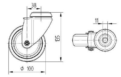 Roata pivotanta din polipropilena 100x32mm - Schita 1