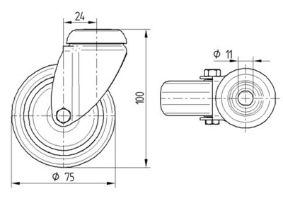 Roata pivotanta cu janta din polipropilena 75x25mm - Schita 1