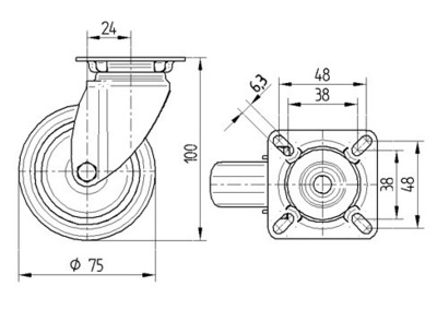 Roata pivotanta cu janta din polipropilena 75x100mm - Schita 1