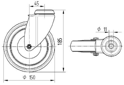 Roata pivotanta cu janta din poliamida 150x32mm - Schita 1