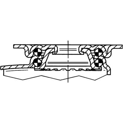 Roata pivotanta cu janta din tabla din otel 50x69mm - Schita 1