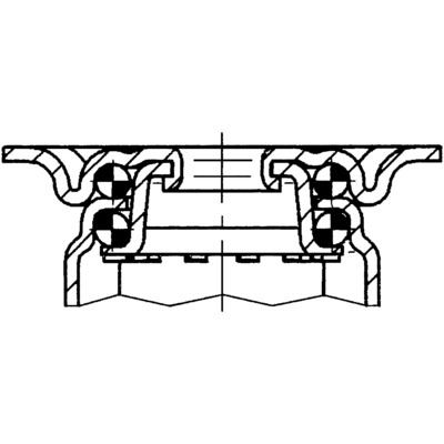 Roata pivotanta cu janta din polipropilena 50x69mm - Schita 1