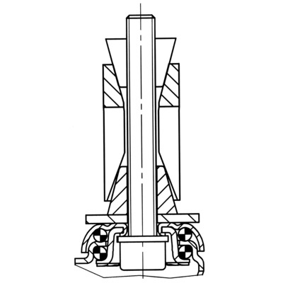 Roata pivotanta cu janta din tabla din otel 75x25mm - Schita 2