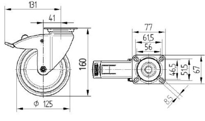 Roata pivotanta cu janta din tabla din otel 125x32mm - Schita 1