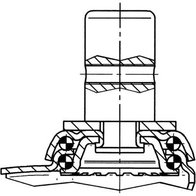 Roata pivotanta cu janta din tabla din otel 125x163mm - Schita 1