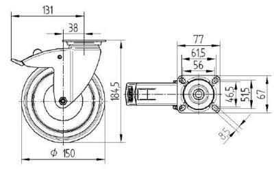 Roata pivotanta cu janta din tabla din otel 150x32mm - Schita 1