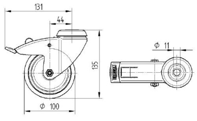 Roata pivotanta cu janta din polipropilena 100x135mm - Schita 1