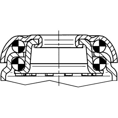 Roata pivotanta cu janta din polipropilena 100x135mm - Schita 2