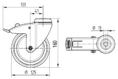 Roata pivotanta cu janta din polipropilena 125x32mm - Schita 1
