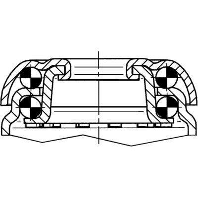 Roata pivotanta cu janta din poliamida 100x32mm - Schita 1