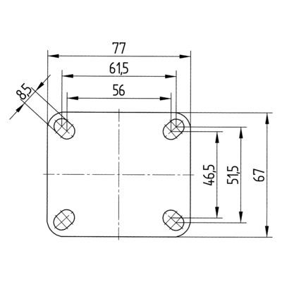 Roata fixa cu janta din tabla din otel 150x32mm - Schita 1