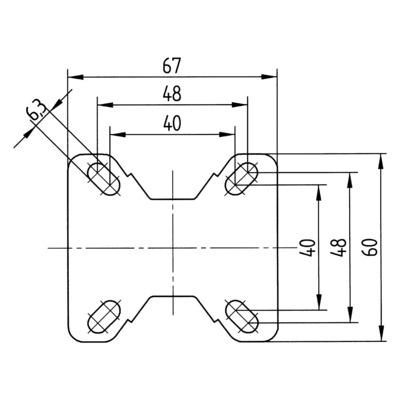 Roata fixa cu janta din polipropilena 75x25mm - Schita 2