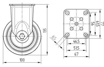 Roata fixa cu janta din polipropilena 100x32mm - Schita 1