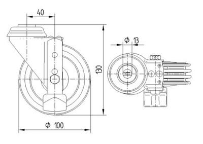 Roata pivotanta cu janta din poliuretan 100x32mm - Schita 1