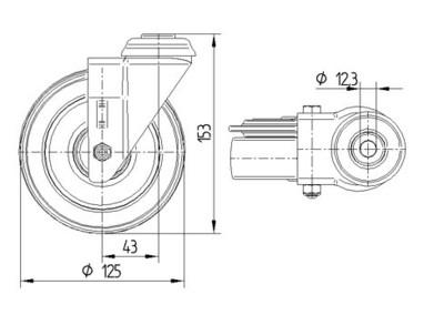 Roata pivotanta cu janta din material plastic 125x32mm - Schita 1