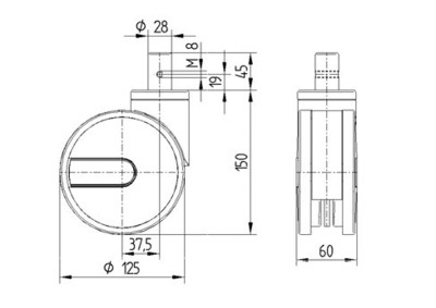 Roata pivotanta cu janta din poliamida 125x12mm - Schita 1