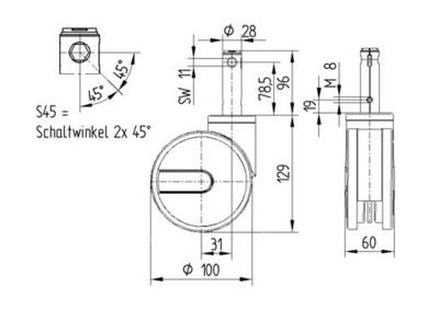 Roata pivotanta cu janta din poliamida 100x15mm - Schita 1