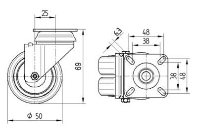 Roata pivotanta cu janta din poliamida 50x69mm - Schita 1