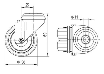 Roata pivotanta cu janta din polipropilena 50x19mm - Schita 1