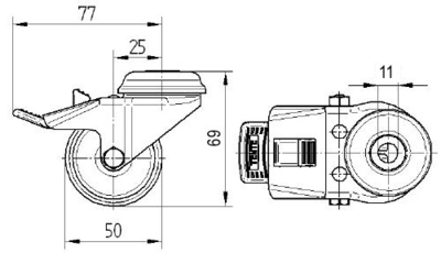 Roata pivotanta cu janta din poliamida 50x20mm - Schita 1