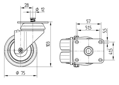 Roata pivotanta cu janta din polipropilena 75x103mm - Schita 1