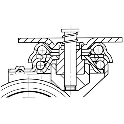 Roata pivotanta cu janta din poliamida 75x103mm - Schita 2