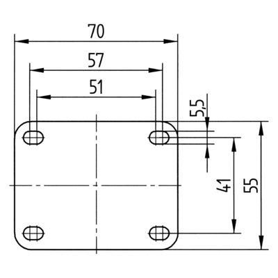 Roata pivotanta cu janta din poliamida 75x103mm - Schita 3
