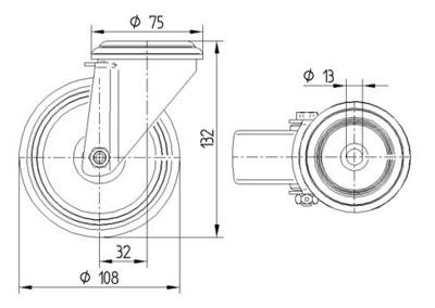 Roata pivotanta din polipropilena 108x132mm - Schita 1