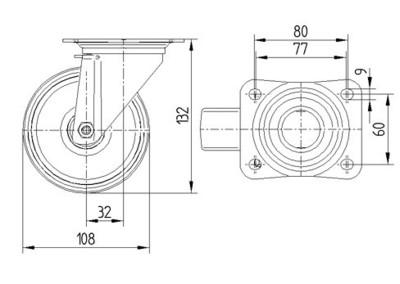 Roata pivotanta din polipropilena 108x36mm - Schita 1