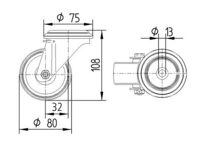 Roata pivotanta din polipropilena 80x34mm - Schita 1