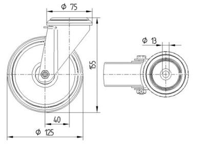 Rola pivotanta din polipropilena 125x155mm - Schita 1