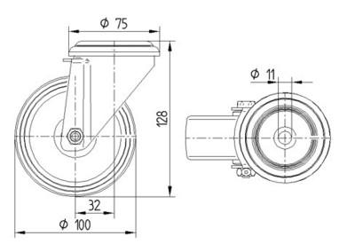 Roata pivotanta cu janta din polipropilena 100x128mm - Schita 1