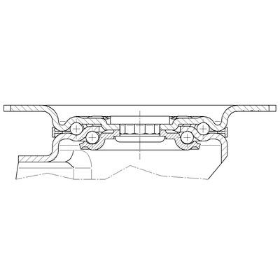 Roata pivotanta cu janta din tabla din otel 160x200mm - Schita 1