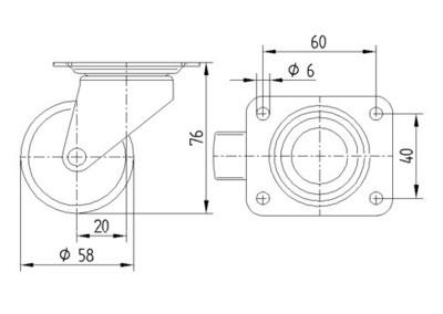 Roata pivotanta din polipropilena 58x76mm - Schita 1