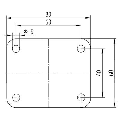 Roata pivotanta din polipropilena 58x76mm - Schita 3
