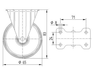 Roata fixa din polipropilena 65x83mm - Schita 1