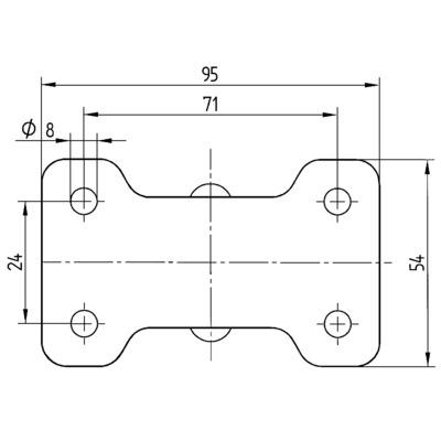 Roata fixa din polipropilena 65x83mm - Schita 2