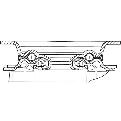 Roata pivotanta cu janta din tabla din otel 100x128mm - Schita 2