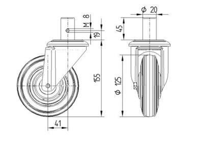 Roata pivotanta cu janta din tabla din otel 125x37mm - Schita 1