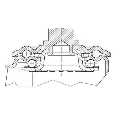 Rola pivotanta cu janta din tabla din otel 125x37mm - Schita 1