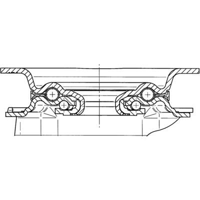 Roata pivotanta cu janta din tabla din otel 80x108mm - Schita 1