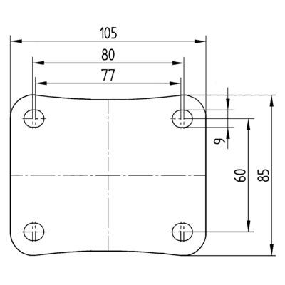 Roata pivotanta cu janta din tabla din otel 80x108mm - Schita 2