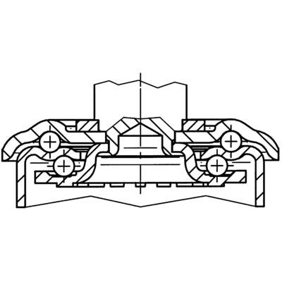 Roata pivotanta cu janta din tabla din otel 200x235mm - Schita 1